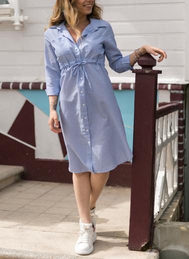 XHAN Çizgili Beli Bağcıklı Elbise 0Yxk6-43349-12 Mavi